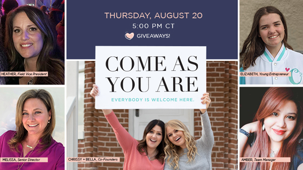 "Join Special ""Come As You Are"" Event August 20"